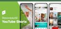 Trois Smartphones avec Courtes videos YouTube Shorts